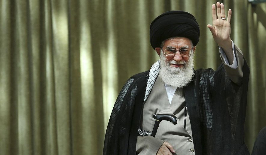 "Ali Khamenei, the mullah who is the supreme leader of Iran, tells his Twitter followers that ""This barbaric, wolflike & infanticidal regime of #Israel which spares no crime has no cure but to be annihilated."" (AP Photo/Office of the Iranian Supreme Leader, File)"