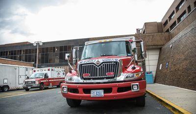 District of Columbia ambulances wait for emergency calls outside Howard University Hospital, in Washington, DC., Wednesday, August 7, 2013. (Andrew S Geraci/The Washington Times)