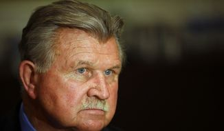 Mike Ditka speaks during an interview at the NFL Super Bowl XLVIII media center in New York on Jan. 29, 2014. (Associated Press) **FILE**