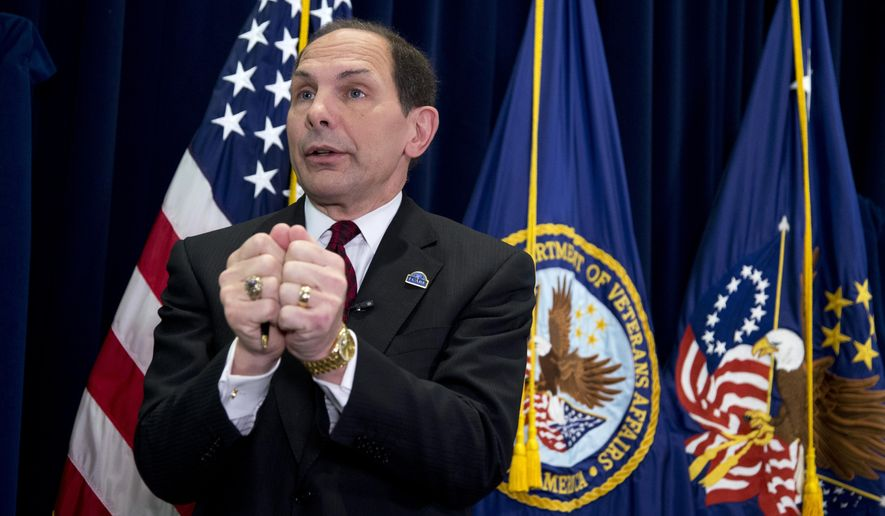 Veterans Affairs Secretary Robert McDonald speaks at a news conference at the Veterans Affairs Department in Washington, Monday, Sept. 8, 2014. McDonald discussed his visits with VA facilities across the country and outline his priorities.   (AP Photo/Manuel Balce Ceneta)