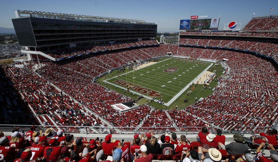 FILE - In this Aug. 17, 2014, file photo, fans watch as the San Francisco 49ers play the Denver Broncos during the first quarter of an NFL preseason football game at Levi's Stadium in Santa Clara, Calif. In the not-too-distant future, a football fan might be able to take his seat at the stadium, punch up any game he wants on the monitor set in the seatback in front of him, keep tabs on the real-time stats of his fantasy team, order up a hot dog and beer and even have a brand-new jacket brought to his seat if the wind kicks up. This is the future of the NFL _ the $9 billion league that kicked off the 2014 season this week and has plans on going bigger over the next decade. (AP Photo/Tony Avelar, File)