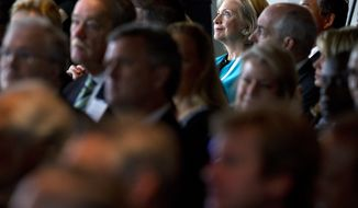 Former Secretary of State Hillary Clinton was in Washington Monday, when former President Bill Clinton and former President George W. Bush launched a new scholars program. (AP Photo/Jacquelyn Martin)