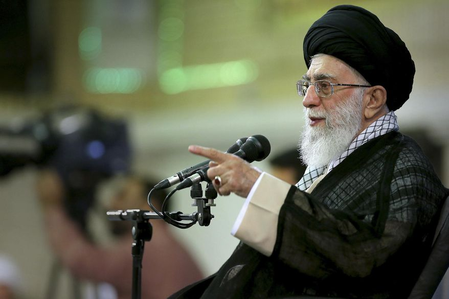 In this photo released by an official website of the Iranian supreme leader's office, Supreme Leader Ayatollah Ali Khamenei speaks during a meeting in Tehran, Iran, Sunday, Sept. 7, 2014. (AP Photo/Office of the Supreme Leader) ** FILE **