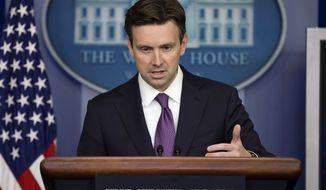 At Monday's daily news briefing, White House press secretary Josh Earnest answered questions about President Obama's upcoming speech on confronting Islamic State militants. (AP Photo/Evan Vucci)
