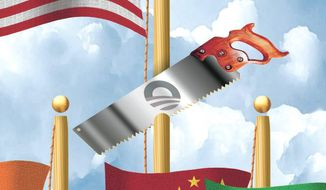 Illustration on Obama's goals to diminish the United States on the world stage by Alexander Hunter/The Washington Times
