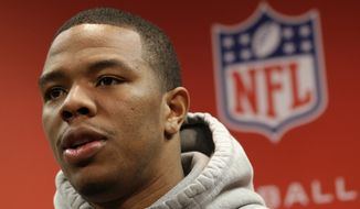 Baltimore Ravens running back Ray Rice speaks during a news conference at the team's practice facility in Owings Mills, Md., Wednesday, Jan. 16, 2013. The Ravens are scheduled to face the New England Patriots in the AFC Championship on Sunday. (AP Photo/Patrick Semansky)