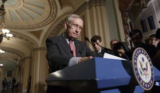 Senate Majority Leader Harry Reid, D-Nev. arrives to speak with reporters  on Capitol Hill in Washington, Tuesday, Sept. 9, 2014, before joining other congressional leaders at the White House for a meeting with President Barack Obama. In advance of the crucial midterm elections, Reid has been criticizing special interest campaign spending as being undemocratic, with a special focus on the billionaire Koch brothers who have contributed large sums to conservative groups that are spending millions against Democratic senators. (AP Photo/J. Scott Applewhite)