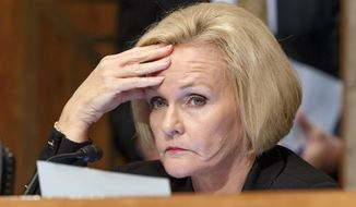 Sen. Claire McCaskill, D-Mo., listens to witnesses testify on Capitol Hill in Washington, Tuesday, Sept. 9, 2014, during a Senate Homeland Security Committee hearing on federal programs that equip state and local police with military equipment. (AP Photo/J. Scott Applewhite) ** FILE **