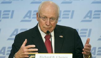 Former Vice President Dick Cheney speaks at the American Enterprise Institute (AEI)  in Washington, Wednesday, Sept. 10, 2014, about the current state and future of American foreign policy. (AP Photo/Cliff Owen) ** FILE **
