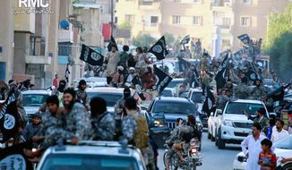 In this undated file image posted by the Raqqa Media Center, a Syrian opposition group, on Monday, June 30, 2014, which has been verified and is consistent with other AP reporting, fighters from Islamic State group parade in Raqqa, Syria. (AP Photo/Raqqa Media Center, File)