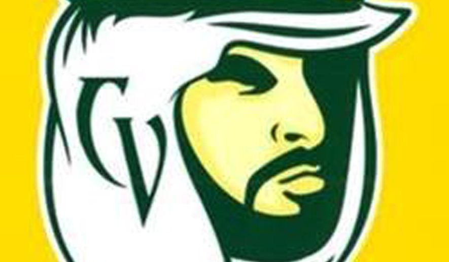 This image provided by the Coachella Valley Unified School District shows the Mighty Arab, the new mascot and nickname of Coachella Valley High School, adopted at a school board meeting Tuesday, Sept. 9, 2014, in Thermal, Calif. The district unanimously adopted the changes after months of pressure from Arab-American anti-discrimination groups to change the name, Arabs, and to retire the scowling, hook-nosed image in the old logo and adopt the more stoical face in the new one. The Arab mascot has existed since the 1920s to recognize the desert region's reliance on date farming, a traditionally Middle Eastern crop. (AP Photo/Coachella Valley Unified School District)