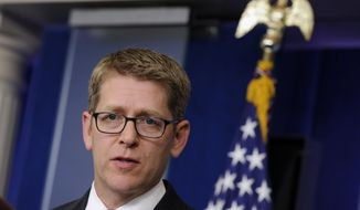 Then-White House press secretary Jay Carney speaks during the daily briefing at the White House in Washington in this June 2, 2014, file photo. (AP Photo/Susan Walsh)