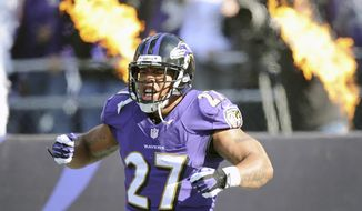 Baltimore Ravens running back Ray Rice reacts to his introduction before a NFL football game against the Cincinnati Bengals in Baltimore, Sunday, Nov. 10, 2013. (AP Photo/Nick Wass)