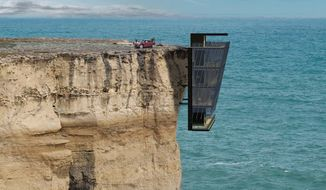 The design for the Cliff House by Australian architectural firm Modscape shows the home anchored to the side of a cliff overlooking a steep drop to the ocean below. (ModScape)