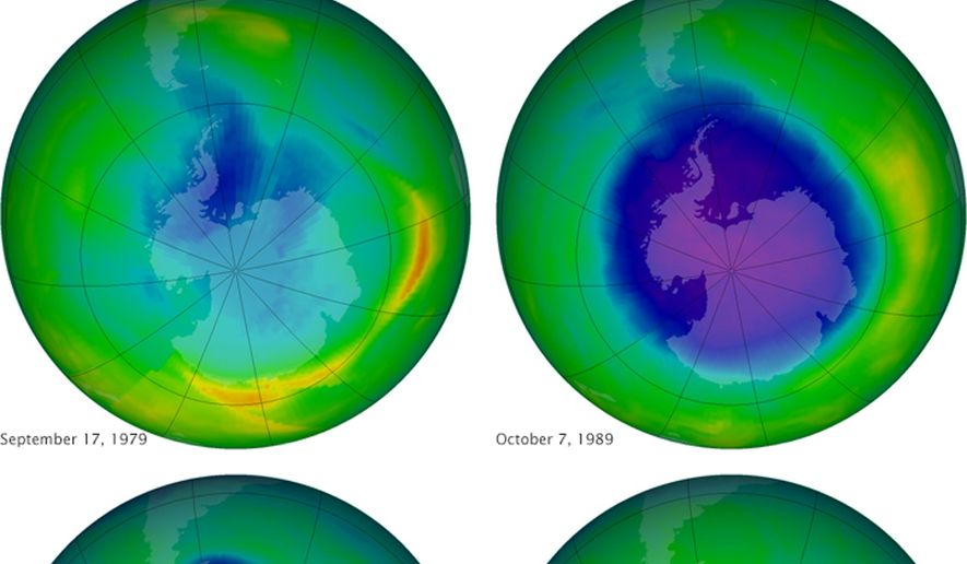 This undated image provided by NASA shows the ozone layer over the years, Sept. 17, 1979, top left, Oct. 7, 1989, top right, Oct. 9, 2006, lower left, and Oct. 1, 2010, lower right. Earth protective but fragile ozone layer is finally starting to rebound, says a United Nations panel of scientists. Scientists hail this as rare environmental good news, demonstrating that when the world comes together it can stop a brewing ecological crisis. (AP Photo/NASA)