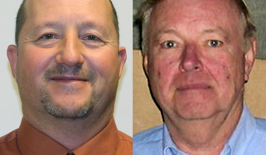 In this combination of photos provided by the Maquoketa Sentinel-Press are Larry Koos, left, and Francis Glaser. Authorities say Glaser, an Iowa man angry about his property taxes, pulled a gun and fired at the county assessor during a public meeting Tuesday in Maquoketa, Iowa. Glaser missed and Koos, a county supervisor, stepped in and was killed by a second shot during a struggle, authorities say.  (AP Photo/Maquoketa Sentinel-Press)