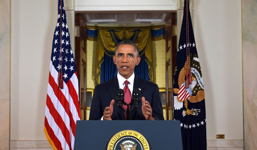 President Obama addresses the nation from the Cross Hall in the White House in Washington. (Associated Press)
