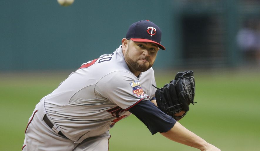 Minnesota Twins starting pitcher Ricky Nolasco delivers against the Cleveland Indians in the first inning of the second game of a baseball doubleheader Thursday, Sept. 11, 2014, in Cleveland. (AP Photo/Mark Duncan)