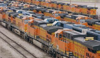 In this May 5, 2009 file photo, Burlington Northern Santa Fe locomotives are parked in a rail yard in Lincoln, Neb. A unit of the Sheet Metal, Air, Rail and Transportation Workers union has rejected a deal with BNSF that would have allowed one-person crews under certain circumstances. (AP Photo/Nati Harnik, File)FILE -