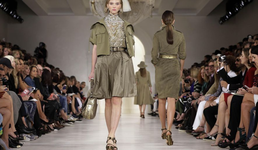The Ralph Lauren Spring 2015 collection is modeled during Fashion Week, in New York, Thursday, Sept. 11, 2014. (AP Photo/Richard Drew)