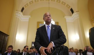 FILE - This June 24, 2014, file photo shows Homeland Security Secretary Jeh Johnson arrivines on Capitol Hill in Washington. President Barack Obama, who has postponed until after Election Day his plan for executive actions that could shield millions of immigrants from deportation, is already on pace this year to deport the fewest number of immigrants since at least 2007, according to a new analysis of Homeland Security Department figures by The Associated Press.  (AP Photo/Charles Dharapak, File)