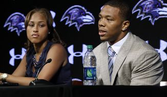 Former Baltimore Ravens running back Ray Rice, right, speaks alongside his wife, Janay, during a news conference at the team's practice facility in Owings Mills, Md. A new video that appears to show Ray Rice striking then-fiance Janay Palmer in an elevator last February has been released on a website. (AP Photo/Patrick Semansky, File)