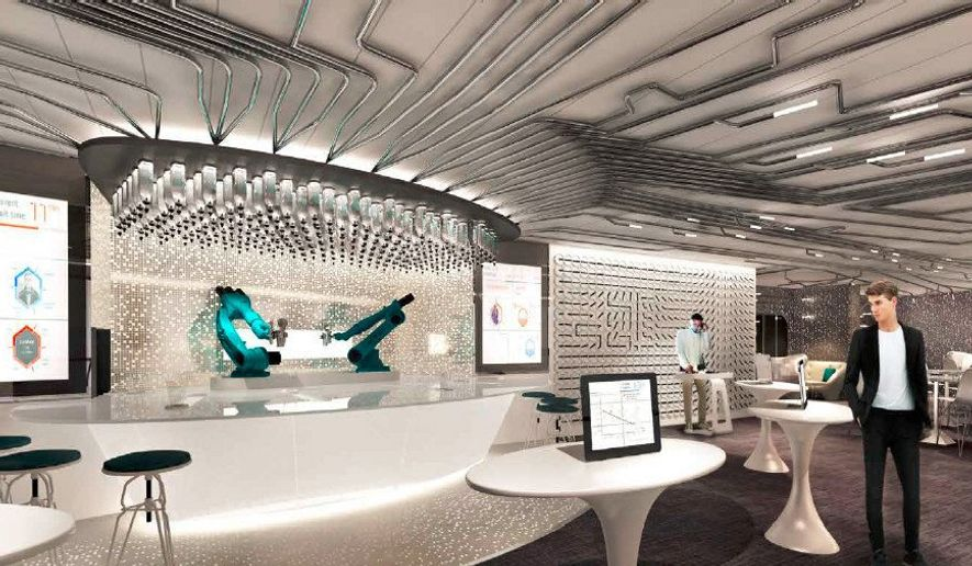 A brand new venue onboard Quantum of the Seas, Bionic Bar, is set to make waves with robots at center stage. Guests place orders via tablets and then have fun watching robotic bartenders hard at work mixing cocktails. (PRNewsFoto/Royal Caribbean)