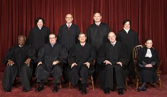 Supreme Court, October 2010 - Back row (left to right): Sonia Sotomayor, Stephen G. Breyer, Samuel A. Alito, and Elena Kagan. Front row (left to right): Clarence Thomas, Antonin Scalia, Chief Justice John Roberts, Anthony Kennedy, and Ruth Bader Ginsburg
