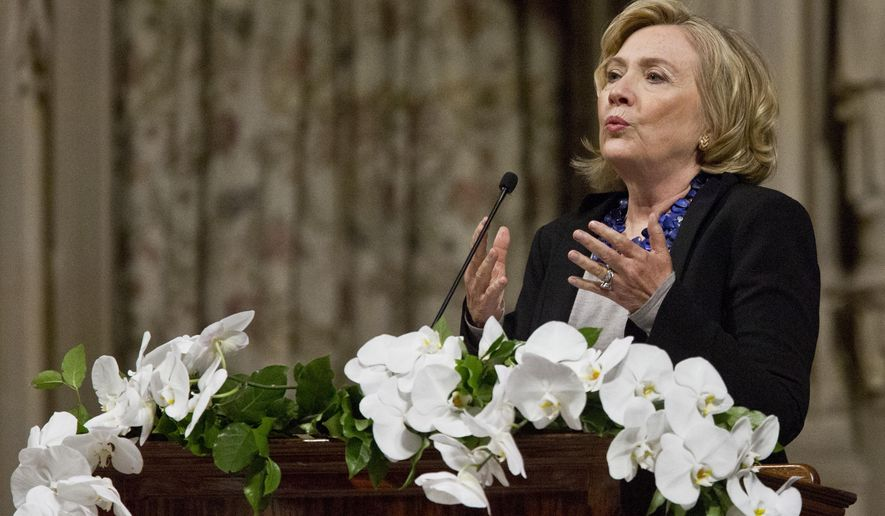 Former Secretary of State Hillary Rodham Clinton speaks during a tribute to Maya Angelou at The Riverside Church in Manhattan, Friday Sept. 12, 2014 in New York.  Family and friends filled the church to remember Angelou, the author, poet and stage performer who died earlier this year. (AP Photo/Bebeto Matthews)