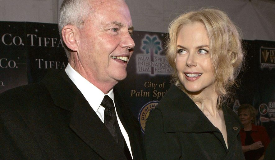 FILE - In this Jan. 8, 2005 file photo, psychologist Anthony Kidman, left, and his daughter, actress Nicole Kidman, arrive to the Palm Springs International Film Festival in Palm Springs, Calif. Authorities say Tony Kidman died Friday, Sept. 12, 2014, in Singapore. (AP Photo/Chris Polk, File)