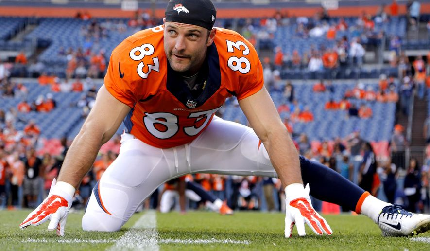 FILE - In this Aug. 23, 2014, file photo, Denver Broncos wide receiver Wes Welker (83) stretches prior to an NFL preseason football game against the Houston Texans in Denver. Player representatives to the union voted to implement HGH testing for the 2014 NFL season, Friday, Sept. 12, 2014. Overall changes are retroactive for players who are suspended under previous policies, and for those in the appeal process. Those players, presumably including Browns receiver Josh Gordon, who is suspended for the season, and Broncos receiver Wes Welker (four games), would be subject to standards of the new policies.(AP Photo/Jack Dempsey, File)