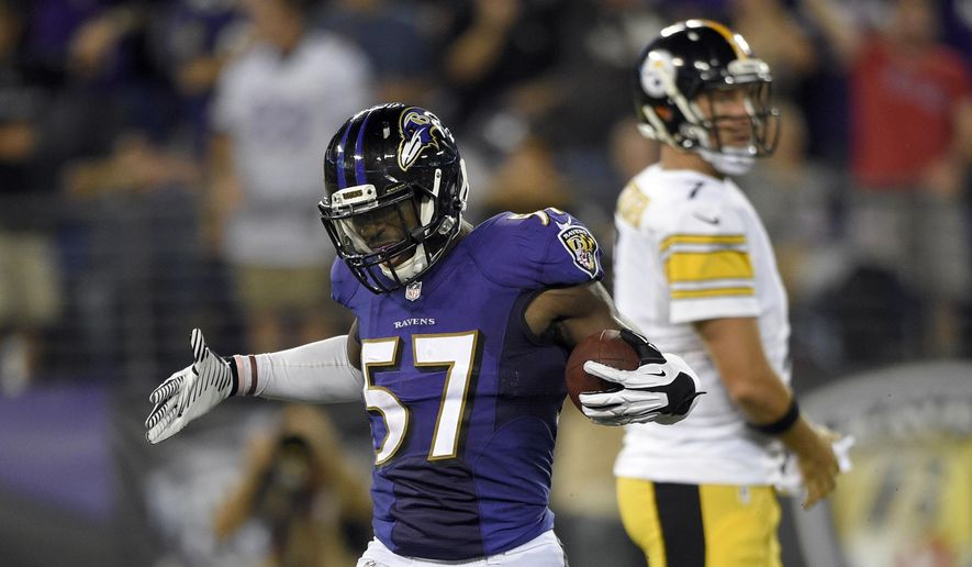 Baltimore Ravens inside linebacker C.J. Mosley (57) celebrates his fumble recovery, near Pittsburgh Steelers quarterback Ben Roethlisberger (7) during the second half of an NFL football game Thursday, Sept. 11, 2014, in Baltimore. The Ravens won 26-6. (AP Photo/Nick Wass) ** FILE **
