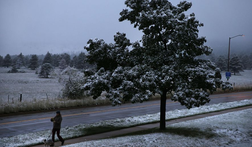 A woman walks her dog at dawn after the season's first snow fell over Boulder, Colo., Friday, Sept. 12, 2014. Boulder saw less than an inch of snow overnight, about a month earlier than the average first snow on the front range of the Colorado Rockies, according to the National Weather Service. (Brennan Linsley)