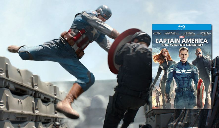 The Star Spangled Avenger means business in the movie Captain America: The Winter Soldier now available in the Blu-ray format. (Courtesy Walt Dinsey Home Entertainment)