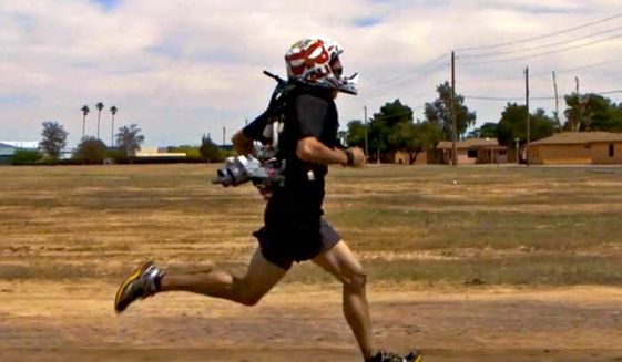 """A jetpack for the Pentagon's """"4-minute mile"""" project shaves 18 seconds off an individual's 1-mile time. (Image: Arizona State University)"""