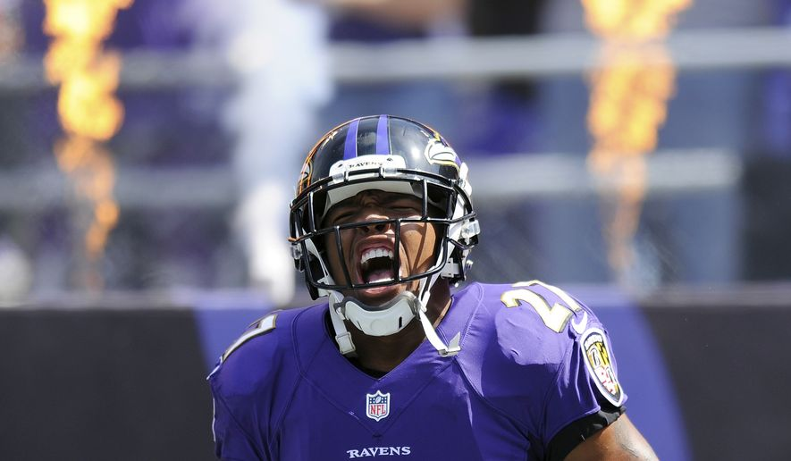 FILE - In this Sept. 15, 2013, file photo, Baltimore Ravens running back Ray Rice yells during his introduction before an NFL football game against the Cleveland Browns in Baltimore. It's an NFL fact of life: If a player has talent, a team can find a place for him, no matter how bad his off-the-field profile. Ray Rice is testing that maxim, as much for his deed as the fact that it's documented on video. He's suspended now, but can he rehab his image enough to come back on the field? (AP Photo/Nick Wass, File)