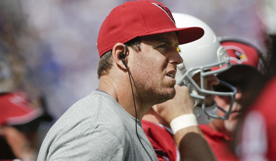 Arizona Cardinals quarterback Carson Palmer watches his team play during the first half of an NFL football game against the New York Giants, Sunday, Sept. 14, 2014, in East Rutherford, N.J. (AP Photo/Kathy Willens)