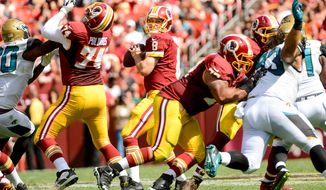 Washington Redskins quarterback Kirk Cousins (8) in the fourth quarter as the Washington Redskins play the Jacksonville Jaguars at FedExField, Landover, Md., Monday, September 9, 2013. (Andrew Harnik/The Washington Times)