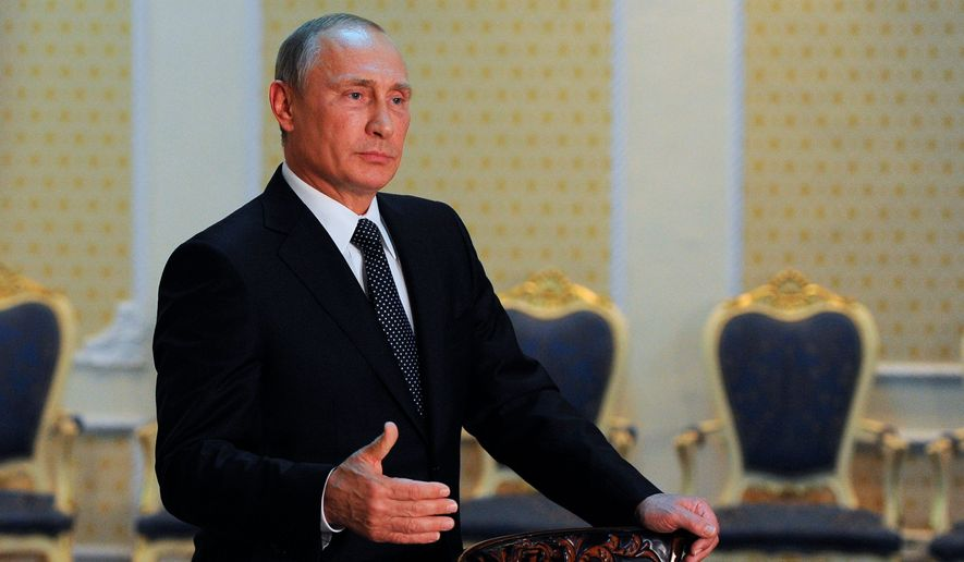 """Despite popular support for a visa regime with former Soviet republics, Russian President Vladimir Putin has opposed such a move, saying """"A visa regime would mean that we are pushing former Soviet republics away, but we need to bring them closer."""" (Associated Press)"""