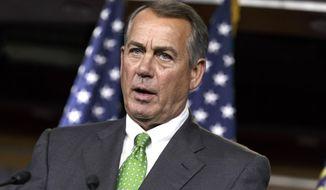 House Speaker John Boehner of Ohio speaks during a news conference on Capitol Hill in Washington on Sept. 11, 2014. (AP Photo/J. Scott Applewhite) ** FILE **