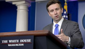White House press secretary Josh Earnest speaks during the daily news briefing at the White House, Monday, Sept. 15, 2014, in Washington. Earnest answered question about Islamic State militants and other topics. (AP Photo/Carolyn Kaster)