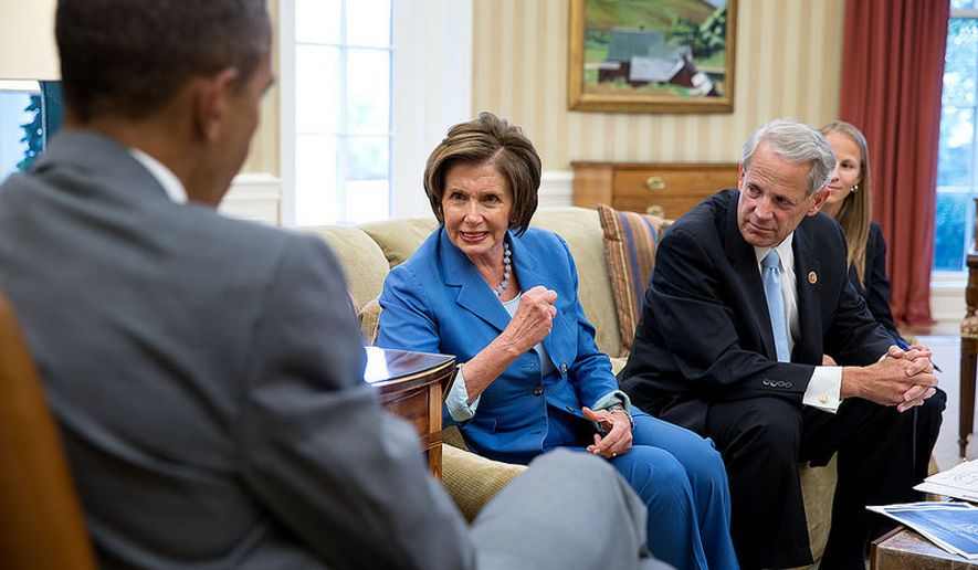 President Barack Obama meets with House Minority Leader Nancy Pelosi, D-Calif. and Democratic Congressional Campaign Committee Chairman Rep. Steve Israel, D-N.Y. in the Oval Office, July 31, 2014. Kelly Ward, Executive Director of the DCCC, seated at right. (Official White House Photo by Pete Souza)