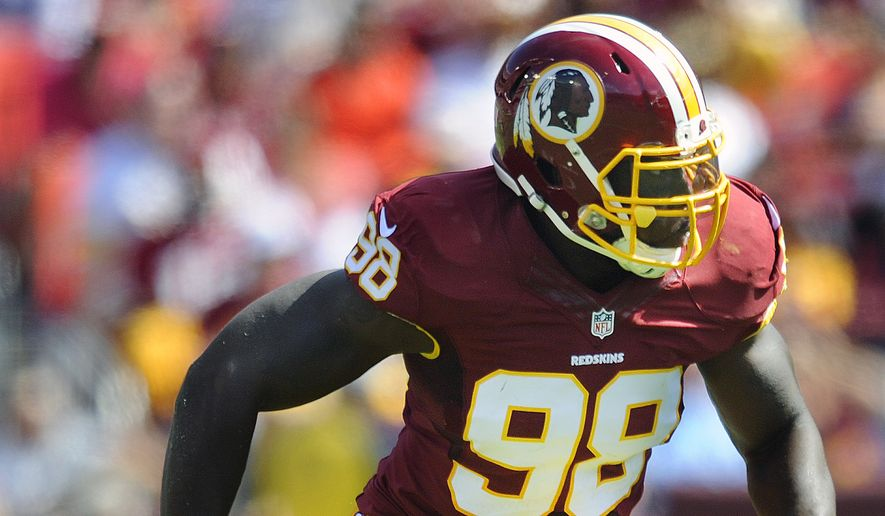 Washington Redskins outside linebacker Brian Orakpo (98) takes off to the backfield against the Jacksonville Jaguars at FedEx Field, Sept. 14, 2014. (Preston Keres/Special for The Washington Times)