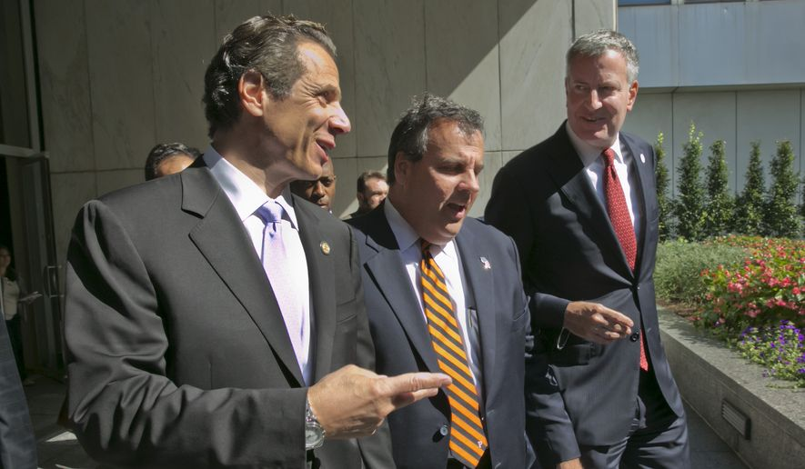 New York Gov. Andrew Cuomo, left, New Jersey Gov. Chris Christie, center, and New York Mayor Bill de Blasio leave a press conference following a security meeting, in New York,  Monday, Sept. 15, 2014.  Govs. Cuomo, Christie and de Blasio met with Homeland Security Secretary Jeh Johnson and a bi-state group of officials from local, state and federal law enforcement and public safety offices to discuss security preparedness and coordination in the New York-New Jersey region. (AP Photo/Richard Drew) **FILE**