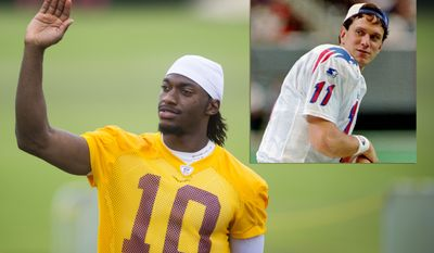 Photo illustration with Washington Redskins quarterback Robert Griffin III and former New England QB Drew Bledsoe (inset). (Photo Rod Lamkey Jr./Special to the Washington Times, AP)