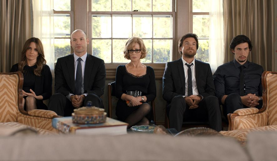 "This image released by Warner Bros. Pictures shows, from left, Tina Fey, Corey Stoll, Jane Fonda, Jason Bateman and Adam Driver in a scene from the film, ""This Is Where I Leave You."" (AP Photo/Courtesy Warner Bros. Pictures)"