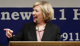 Former Secretary of State Hillary Rodham Clinton speaks during a a fundraiser in Lower Manhattan benefiting two union-backed Sept. 11 victims' advocacy groups, in New York, Tuesday, Sept. 16, 2014. The former U.S. senator from New York and potential 2016 presidential candidate called on union members to mobilize to fight for the extension of the James Zadroga Act. The 2010 law provides medical treatment and compensation to those affected by the attack and is set to expire in 2015 and 2016. (AP Photo/Kathy Willens)