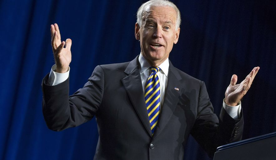 Vice President Joe Biden gestures during a speech to mark the 40th anniversary of the Legal Services Corporation in Washington, on Tuesday, Sept. 16, 2014. (Associated Press) **FILE**