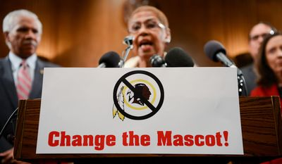 Rep. Eleanor Holmes-Norton (D-D.D.) speaks along with other Native American leaders, Members of Congress, religious and civil rights leaders speak at a Change the Mascot campaign press conference on Capitol Hill to speak out on changing the name of the Washington Redskins, Washington, D.C., Tuesday, September 16, 2014. (Andrew Harnik/The Washington Times)