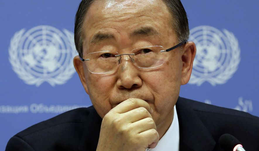 United Nations Secretary General Ban Ki-moon participates in a news conference, at United Nations headquarters, Tuesday, Sept. 16, 2014. (AP Photo/Richard Drew)
